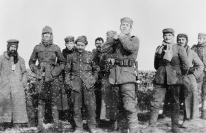 German soldiers of the 134th Saxon Regiment and British soldiers of the Royal Warwickshire Regiment meet in no man's land, December 26