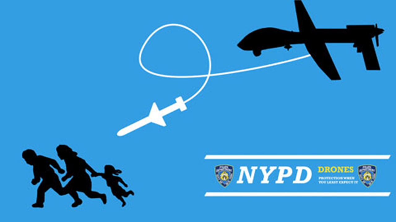 A satirical poster on the potential use of drones by the NYPD